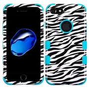 Insten TUFF Hybrid Hard PC/Silicone Case (Military-Grade Certified) For Apple iPhone 7 - Zebra Skin/Tropical Teal