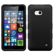 Insten Tuff Hard Hybrid Rubber Silicone Cover Case For Microsoft Lumia 640(Metro PCS)/640(T-mobile) - Black