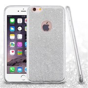 Insten Hard Dual Layer Glitter TPU Case For Apple iPhone 6s Plus / 6 Plus - Silver