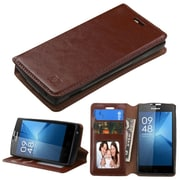 Insten Flip Leather Fabric Case w/stand/card slot/Photo Display For Coolpad Rogue - Brown