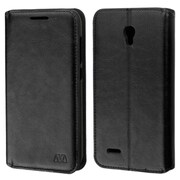 Insten Folio Leather Fabric Case w/stand/card holder/Photo Display For Alcatel One Touch Conquest - Black