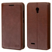 Insten Folio Leather Fabric Case w/stand/card slot/Photo Display For Alcatel One Touch Conquest - Brown