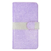 Insten Leather Wallet Rhinestone Case with Card slot For Samsung Galaxy S6 Edge Plus - Purple/Silver