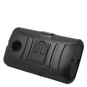 Insten Hard Hybrid Plastic Silicone Stand Case with Holster For Motorola Google Nexus 6 - Black
