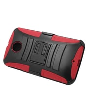 Insten Hard Hybrid Plastic Silicone Stand Case with Holster For Motorola Google Nexus 6 - Black/Red