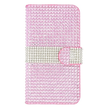 Insten Leather Wallet Bling Cover Case with Card slot For Kyocera Hydro Wave - Hot Pink/Silver