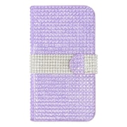 Insten Leather Wallet Diamante Cover Case with Card slot For Kyocera Hydro Wave - Purple/Silver