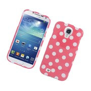 Insten Polka Dots Hard Plastic Case For Samsung Galaxy S4 - Hot Pink/White