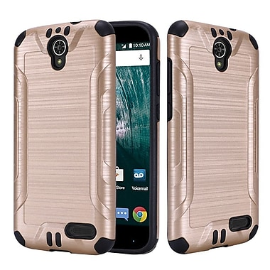 Insten Hard Dual Layer TPU Cover Case For ZTE Warp 7 - Gold/Black