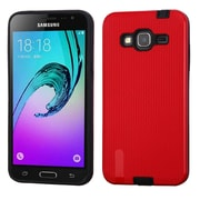 Insten Silk Lines Dual Layer Hybrid Case For Samsung Galaxy Amp Prime/Express Prime/J3 (2016)/Sky/Sol - Red/Black