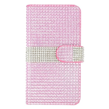Insten Leather Wallet Bling Case with Card slot For Samsung Galaxy S6 Edge Plus - Hot Pink/Silver