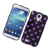Insten Polka Dots Hard Plastic Case For Samsung Galaxy S4 - Black/Purple