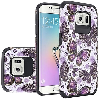 Insten Slim Rubberized Design Hybrid Hard PC/Silicone Case For Samsung Galaxy S6 - Gold Violet Butterfly Flowers
