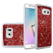 Insten Liquid Quicksand Glitter Fused Flexible Hybrid TPU Cover Case For Samsung Galaxy S6 Edge - Rose Pink