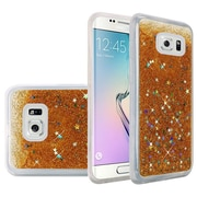 Insten Liquid Quicksand Glitter Fused Flexible Hybrid TPU Cover Case For Samsung Galaxy S6 Edge - Gold