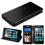 Insten Flip Leather Fabric Cover Case w/stand/card slot For Alcatel One Touch Allura / Fierce 4 / Pop 4+ - Black