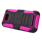 Insten Hard Hybrid Plastic Silicone Stand Case with Holster For BLU Studio 5.5 - Black/Hot Pink