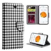 Insten Hounds Tooth Trndy Leather Flip Credit Card Wallet Stand Case For Apple iPhone 7 / 6s / 6 - White/Black