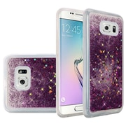Insten Liquid Quicksand Glitter Fused Flexible Hybrid TPU Cover Case For Samsung Galaxy S6 Edge - Dark Purple