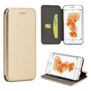 Insten Flip Leather Fabric Cover Case w/stand/card holder for Apple iPhone 6 / 6s - Gold