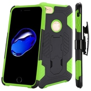 Insten Hard Dual Layer TPU Cover Case w/stand/Holster For Apple iPhone 7 - Black/Neon Green