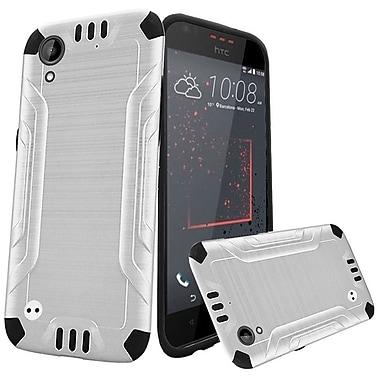 Insten Slim Armor Brushed Metal Design Hybrid Hard PC/TPU Case For HTC Desire 530 - White/Black
