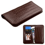 Insten GENUINE Leather Wallet Case Crocodile-Embossed with Credit Card Phone Slot Universal (Size: 6.3 x 3.2 inch) Brown