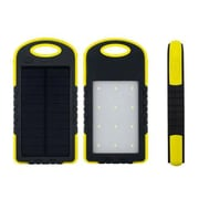 Lax Universal Waterproof 8000Mah Portable Dual Usb Solar Power Bank With Led Light, Yellow