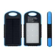 Lax Universal Waterproof 8000Mah Portable Dual Usb Solar Power Bank With Led Light, Blue