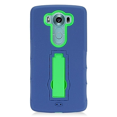 Insten Symbiosis Rubber Dual Layer Hard Case with stand For LG V10 - Blue/Green