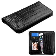 Insten GENUINE Leather Wallet Case Crocodile-Embossed with Credit Card Phone Slot Universal (Size: 6.3 x 3.2 inch) Black