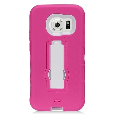 Insten Symbiosis Hard Hybrid Rubberized Silicone Case w/stand For Samsung Galaxy S7 - Hot Pink/White