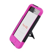 Insten Hard Dual Layer Plastic Silicone Case with stand for iPod Touch 5th Gen - Black/Hot Pink