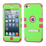 Insten Hard Hybrid Rubber Silicone Case with Stand For iPod Touch 6th / 5th Gen, Green/Hot Pink (2185074)