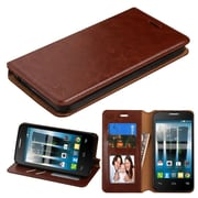 Insten Book-Style Leather Fabric Cover Case w/stand/card slot For Alcatel One Touch Allura / Fierce 4 / Pop 4+ - Brown