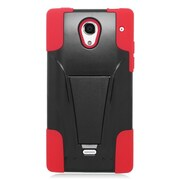 Insten Hard Dual Layer Plastic Silicone Case with stand For Sharp Aquos Crystal - Red