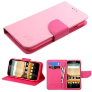 Insten Folio Leather Fabric Case w/stand/card holder For Huawei Union - Pink
