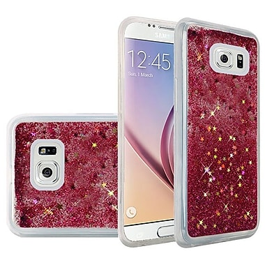 Insten Liquid Quicksand Glitter Fused Flexible Hybrid TPU Cover Case For Samsung Galaxy S6 - Hot Pink