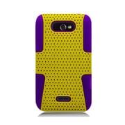 Insten TPU Rubber Hard PC Candy Skin Mesh Case Cover For LG Motion / Optimus Regard - Yellow/Purple