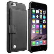"Cobble Pro For iPhone 6s Plus / 6 Plus 5.5"" Luxury 100% Handcrafted GENUINE LEATHER Designer Wallet Case - Black"