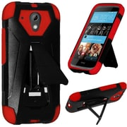 Insten Hard Hybrid Rugged Shockproof Plastic Silicone Cover Case with Stand For HTC Desire 520 - Black/Red