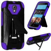 Insten Hard Hybrid Rugged Shockproof Plastic Silicone Cover Case with Stand For HTC Desire 520 - Black/Purple