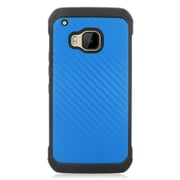Insten Carbon Fiber Hard Hybrid Rubber Silicone Case For HTC One M9 - Dark Blue/Black