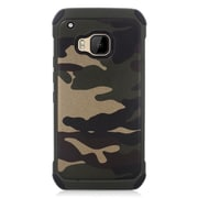 Insten Camouflage Hard Dual Layer Rubberized Silicone Cover Case For HTC One M9 - Green/Black