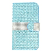 Insten Leather Wallet Rhinestone Case with Card slot For Kyocera Hydro Wave - Light Blue/Silver