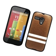 Insten Stripes PC/TPU Rubber Case Cover for Motorola Moto G (1st Gen) - Brown/White