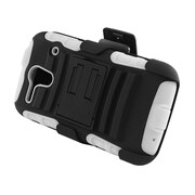 Insten Advanced Armor Dual Layer Hybrid Stand PC/Silicone Holster Case Cover for Kyocera Hydro Edge C5215 - Black/White