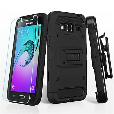Insten 3in1 Hybrid Holster Case (+ Tempered Glass Protector) For Samsung Galaxy Amp Prime/Express Prime/Sky/Sol - Black
