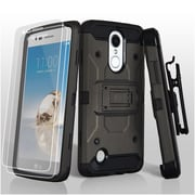 Insten 3-in-1 Hybrid Holster Case (+ 2x Protector) For LG Aristo/Fortune/K8 (2017)/LV3/Phoenix 3 - Dark Grey/Black