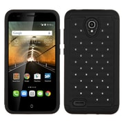 Insten Hard Hybrid Shockproof Rubberized Silicone Cover Case w/Diamond For Alcatel One Touch Conquest - Black